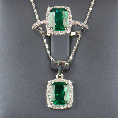 Elegant Solid 925 Sterling silver Jewelry set with 6ct Natural Emeralds - Victoria Vault