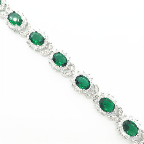 Emerald Flower Chain Link Bracelet