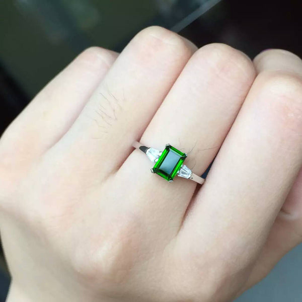 Natural Emerald Green diopside sterling silver engagement ring
