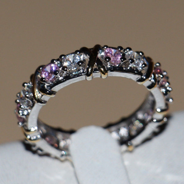 Handmade 925 Sterling Silver Pink Sapphire CZ Diamond Gold Wedding Ring