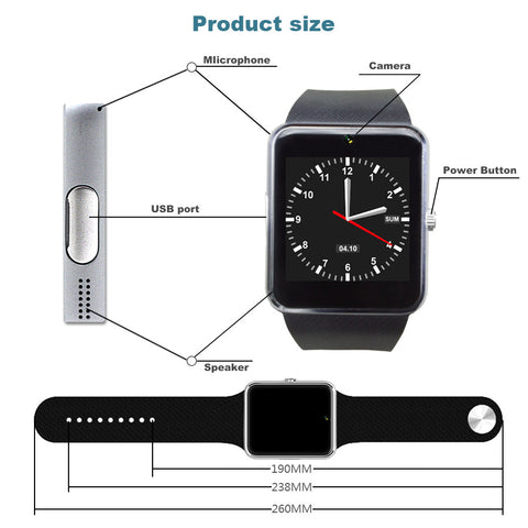 Fast Smart Watch With Sim Card Slot Push Message Bluetooth Camera