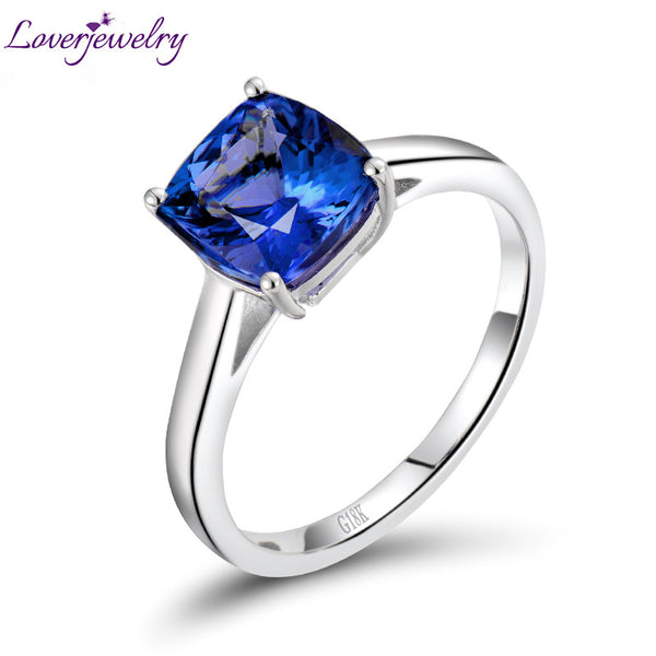 Solid 18Kt White Gold Ring Natural Blue Tanzanite Engagement Ring Design Cushion Cut Gem Jewelry Simple Design for Anniversary