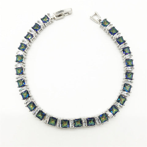 AWESOME Blue Mystic Topaz Bracelet (Fire and Ice) - Victoria Vault