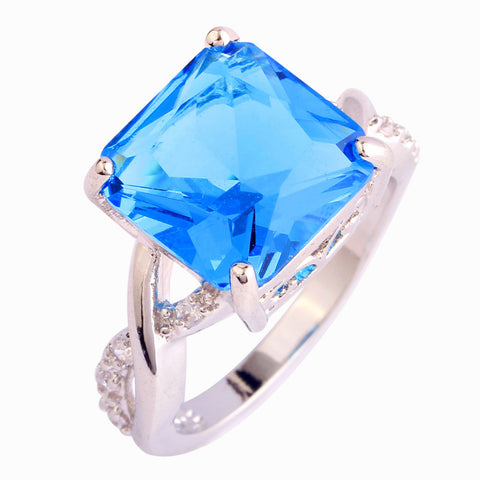 Brilliant Blue Topaz Silver Ring
