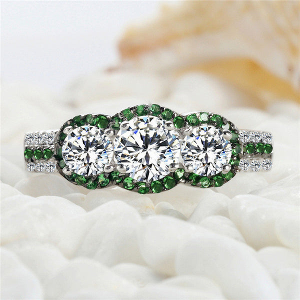 White and Green Cubic Zirconia Rings 925 sterling silver jewelry SSS--3795PLB Size #6 7 8 9  Recommend The new listing Shinning - Victoria Vault