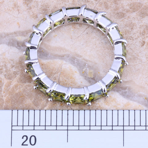 Green Peridot Pave Band