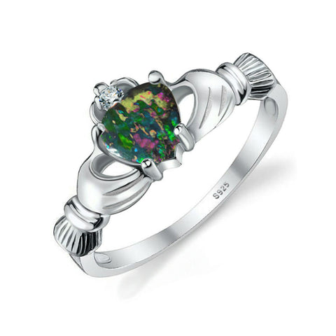 "Black Fire"" Opal Irish Claddagh Ring"