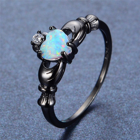 Heart Cut Opal / Black Gold Claddagh Ring - Victoria Vault