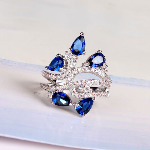 Bold and Beautiful Blue Crystal Bouquet Silver Ring - Victoria Vault
