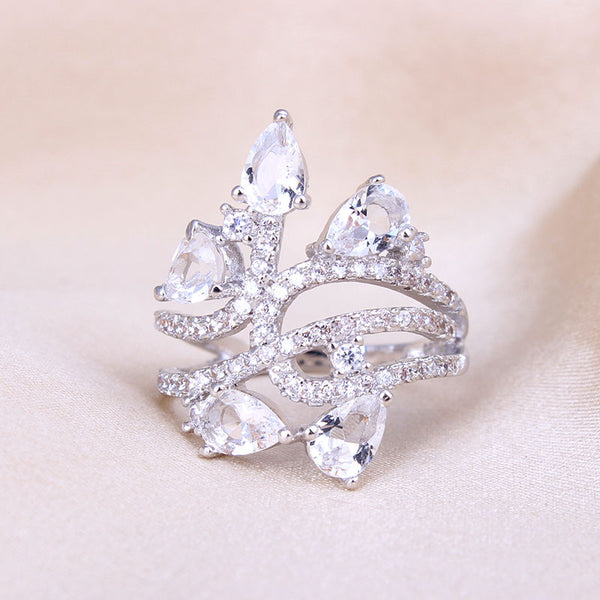 Crystal Bouquet Silver Ring - Victoria Vault