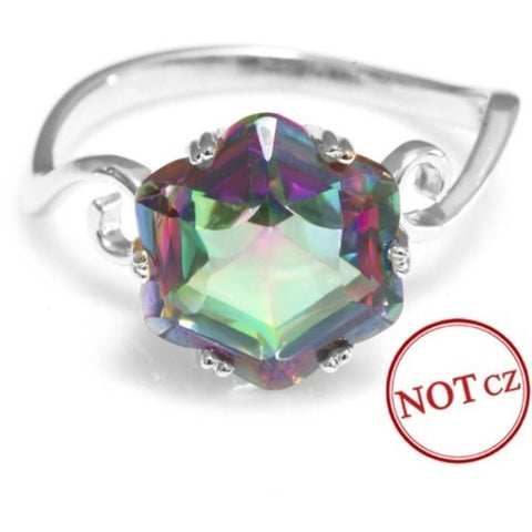 Stunning 3.2 ct Rainbow Fire Mystic Topaz 925 Sterling Silver Ring