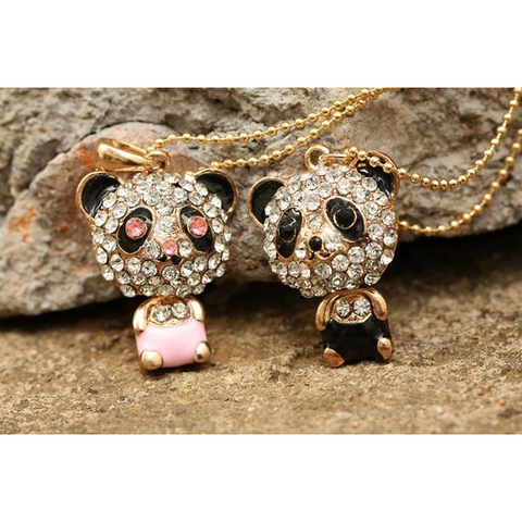 Pink And Black Panda Pendant With Necklace - Victoria Vault