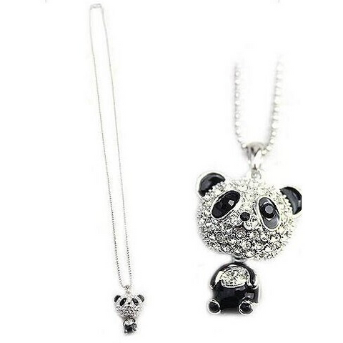 Pink And Black Panda Pendant With Necklace