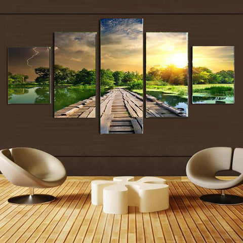 5 Panel Modern Mural Paintings With No Frame