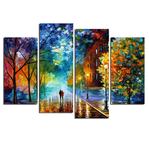 4 Panel Walking In The Quiet Street Canvas Painting