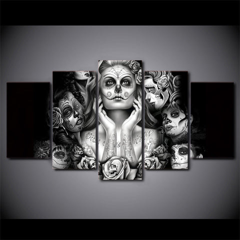Day of the Dead 5 Piece Canvas Painting