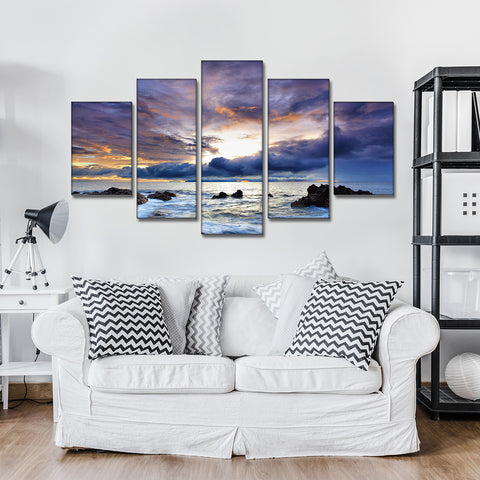 5 Panel HD Printed Sea of Clouds Seascape Canvas Print