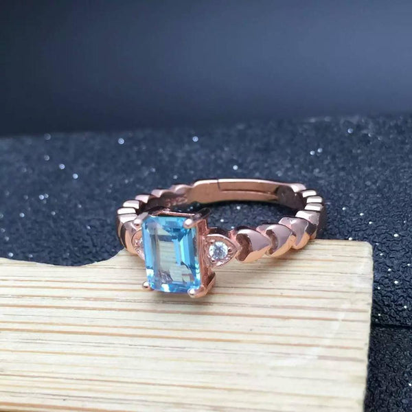 Genuine Sky Blue Topaz 925 silver jewelry Rose Gold  ring
