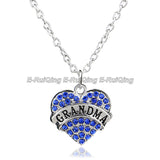 Heart Shape Clear Blue Crystal Mom Grandma Mimi  Pendant Necklace
