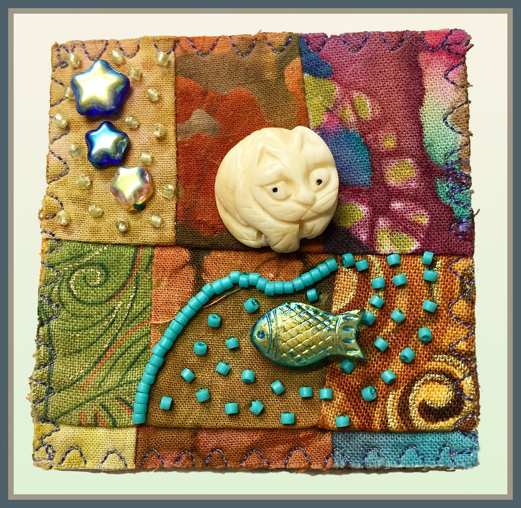 Quilted Pin: Fishing Cat