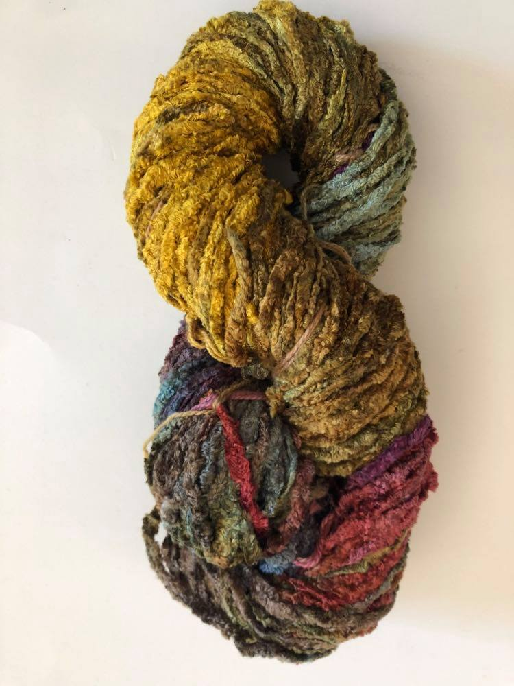 Old Gold elephant rayon chenille yarn broken thread
