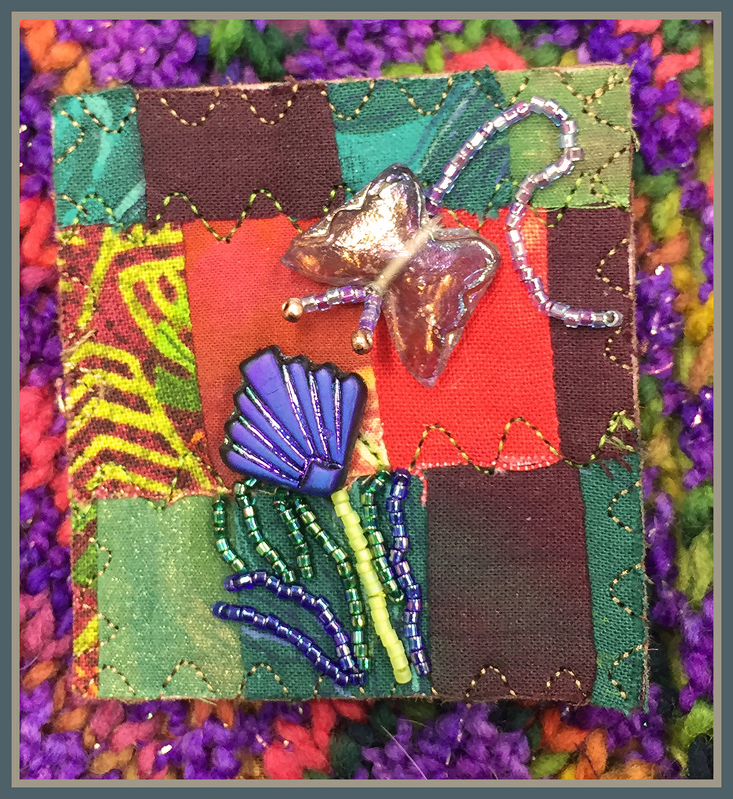 Quilted Pin: Butterfly Garden