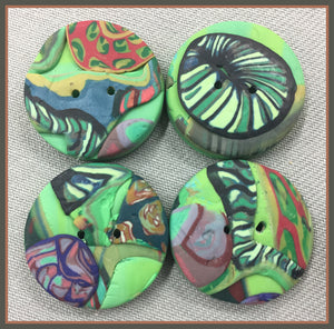 Buttons: Green Fossils #13