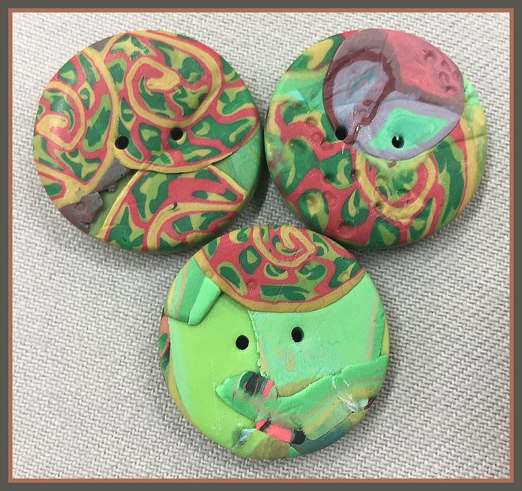Buttons: Green Fossils #18