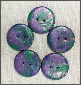 Buttons: Marbled Fuchsia/Green Circle #2