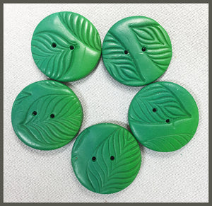 Buttons: Circle Br. Green Leaf
