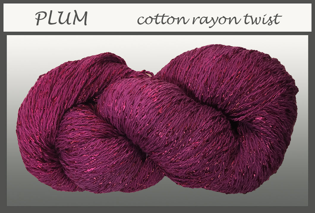 Plum Cotton Rayon Twist Yarn