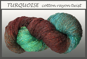 Turquoise Cotton Rayon Twist Yarn