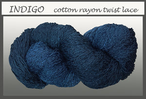 Indigo Cotton Rayon Twist Lace Yarn