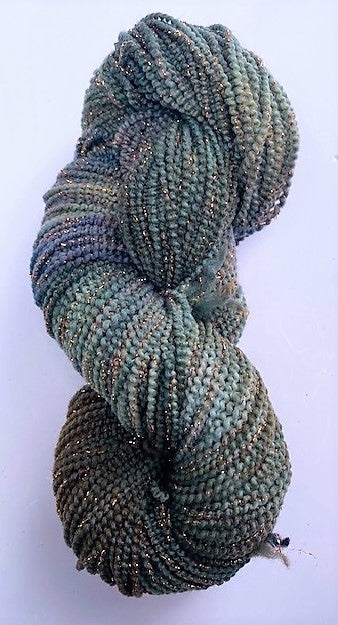Deep Olive beaded merino wool metallic yarn