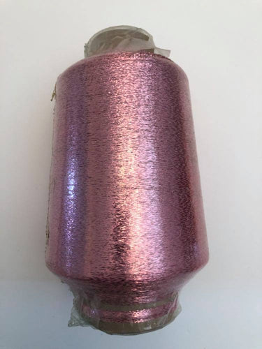 1 lb. cone of vintage metallic fine yarn: Dusty Rose