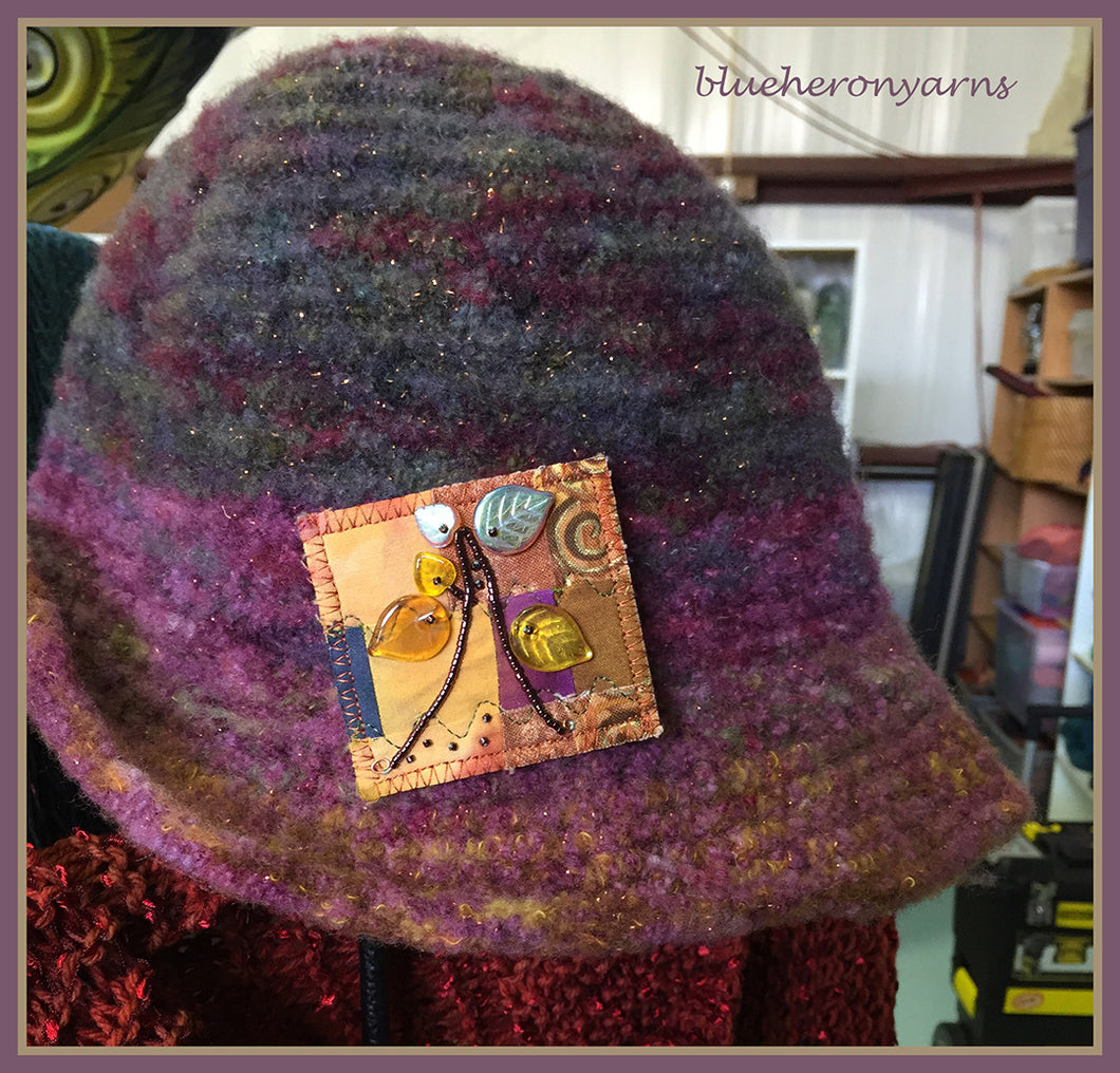 Fall Tree Felted Hat