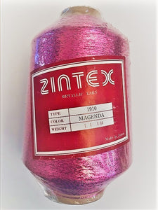 1 lb. cone of vintage metallic fine yarn: Magenta