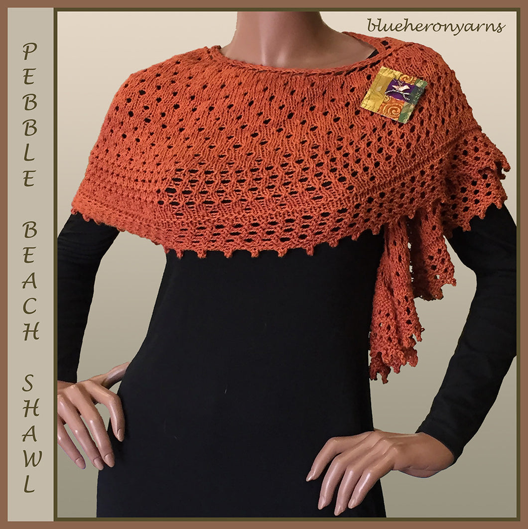 Rosewood Organic Cotton Yarn Pebble Beach Shawl