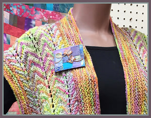 Harvest Rainbow Scarf and Butterfly Chase Pin