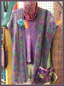 Heather Rainbow Scarf & One Blue Fish Pin