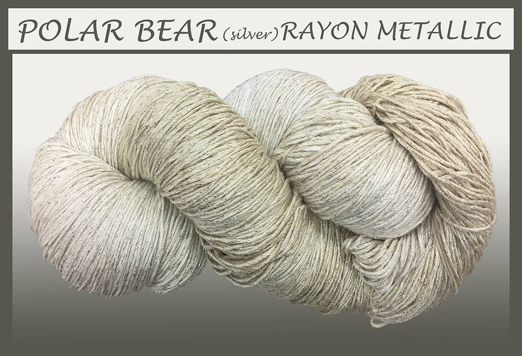 Polar Bear/silver Rayon Metallic Yarn