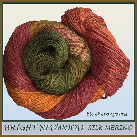 Bright Redwood Silk Merino Yarn