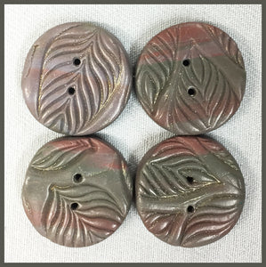 Buttons: Circular Taupe Leaves