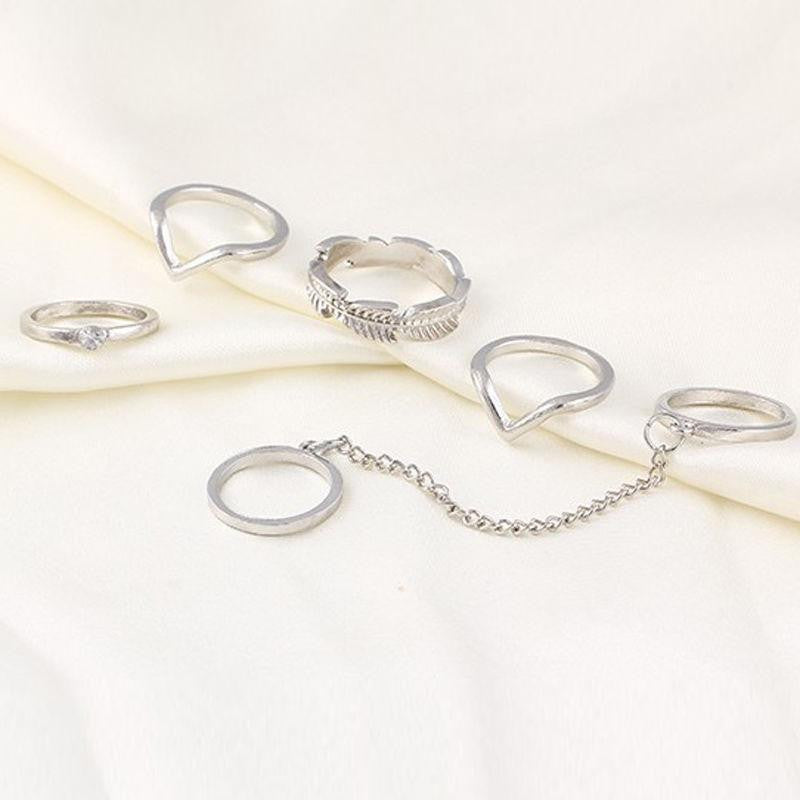 Leaf Chain Rings (Silver)