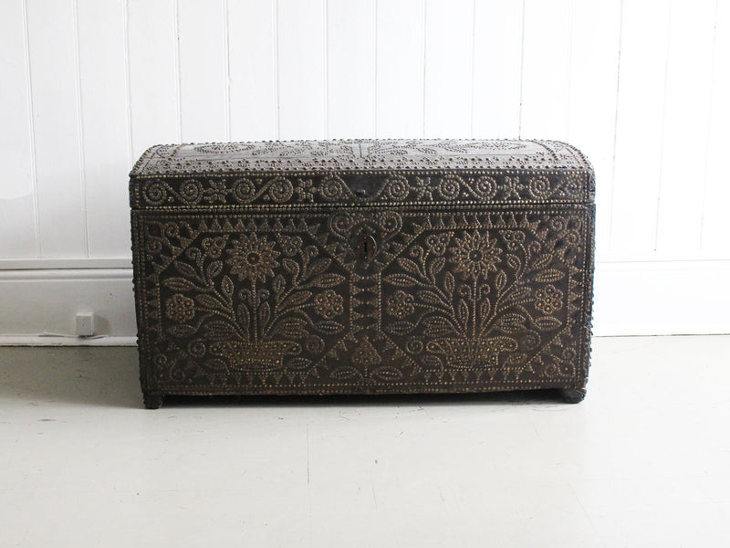 A Late 16th C Leather Bound Brass Studded Travelling Trunk
