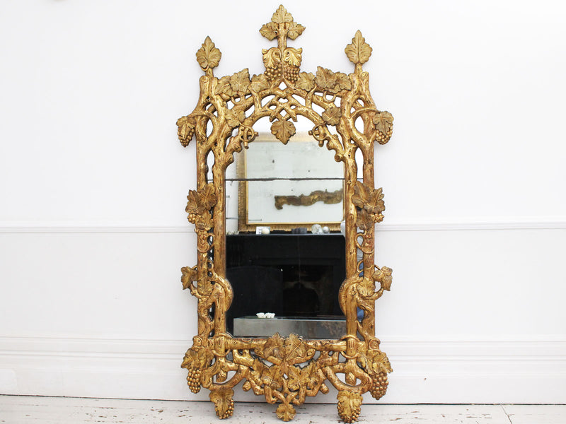 A Rare 18th Century French 'Faux Bois' Carved Giltwood Mirror