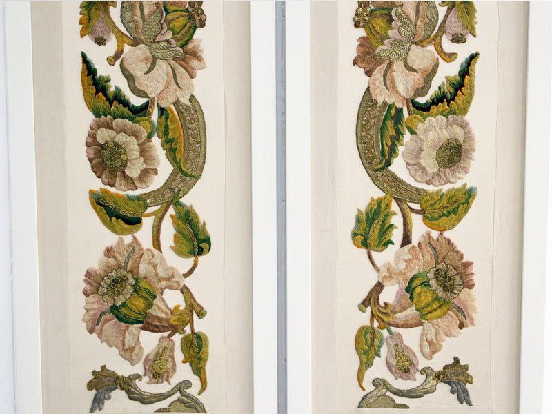 A Pair of 18th Century Embroidered Italian Framed Panels