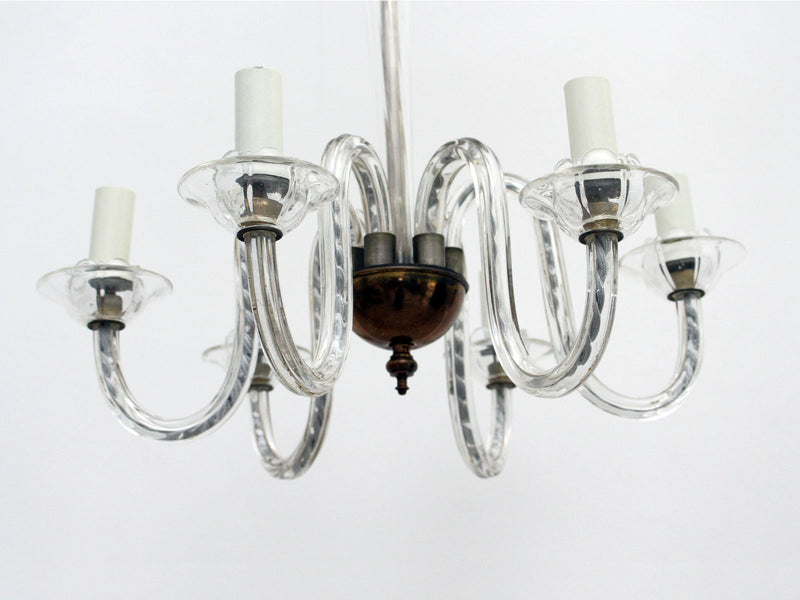 A 1920's Six Arm Murano Glass Chandelier