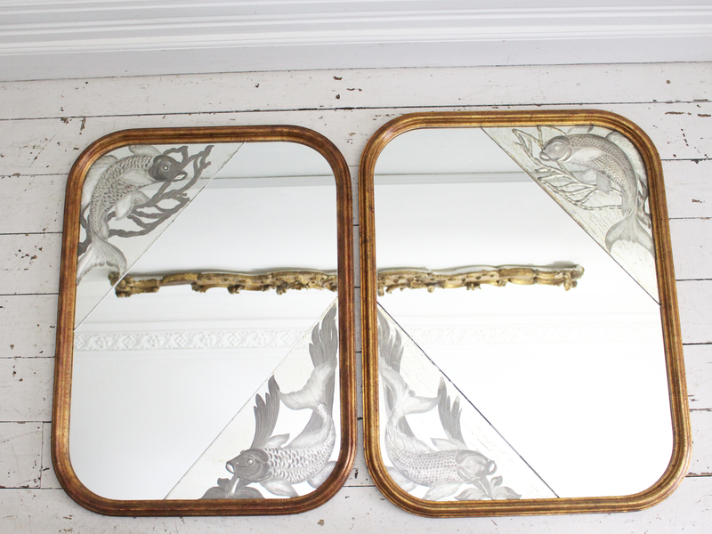A Pair of 1920's Italian Mirrors with Etched Fish & Gilt Frames