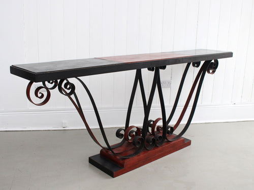 A 1930's Italian Painted Wood & Wrought Iron Console Table